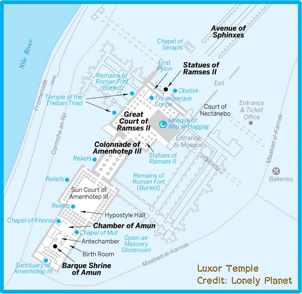 Luxor temple map